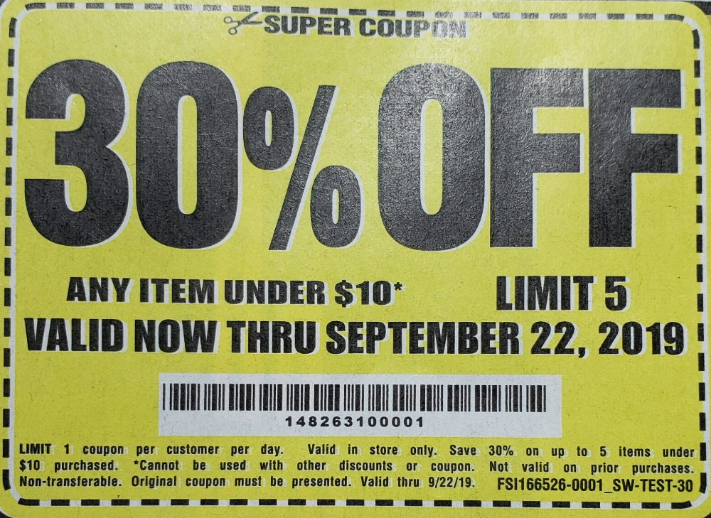 Harbor Freight Coupons, HF Coupons, 20% off - 30% off for under $10 items