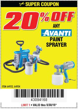Harbor Freight Coupons, HF Coupons, 20% off - ANY AVANTI PAINT SPRAYER
