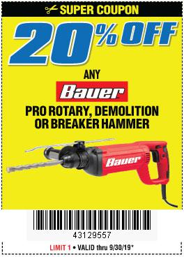 Harbor Freight Coupons, HF Coupons, 20% off - ANY BAUER PRO ROTARY, DEMOLITION OR BREAKER HAMMER
