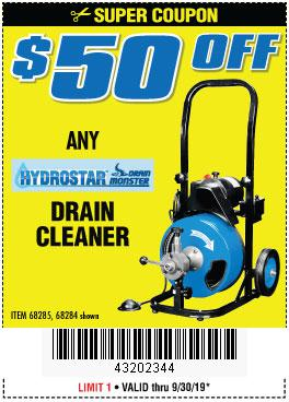 Harbor Freight Coupons, HF Coupons, 20% off - ANY HYDROSTAR DRAIN CLEANER