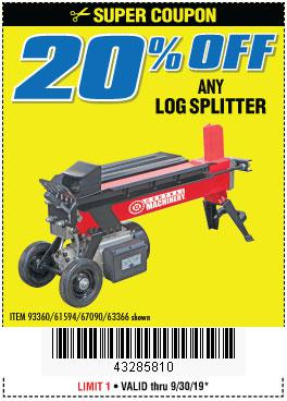 Harbor Freight Coupons, HF Coupons, 20% off - ANY LOG SPLITTER