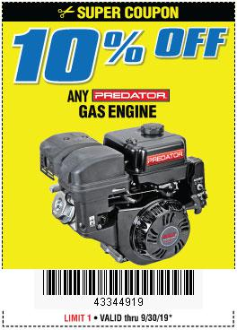 Harbor Freight Coupons, HF Coupons, 20% off - ANY PREDATOR GAS ENGINE