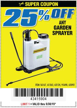 Harbor Freight Coupons, HF Coupons, 20% off - ANY GARDEN SPRAYER