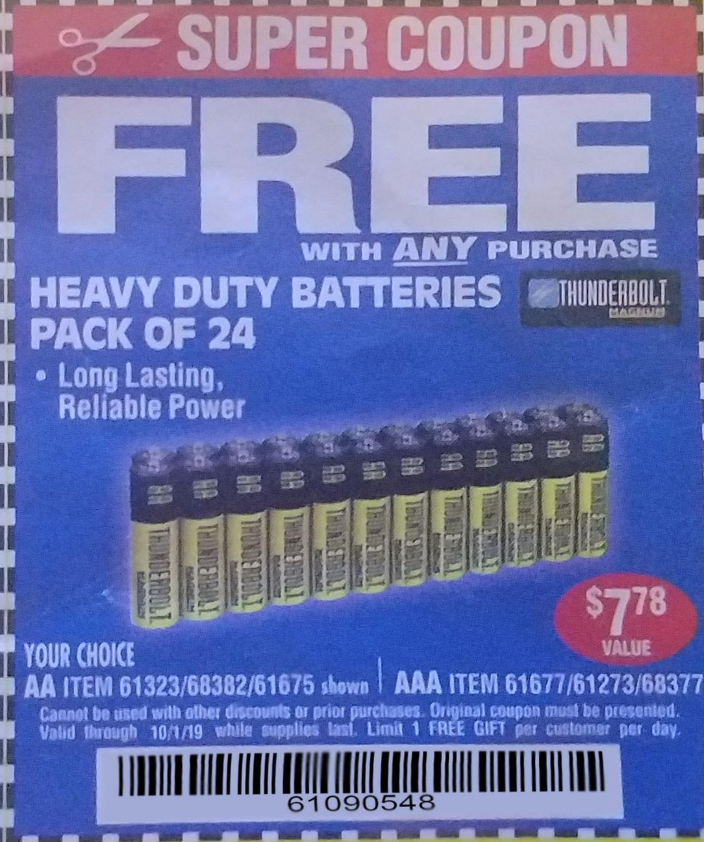 Harbor Freight Coupons, HF Coupons, 20% off - 24 Pack Heavy Duty Batteries