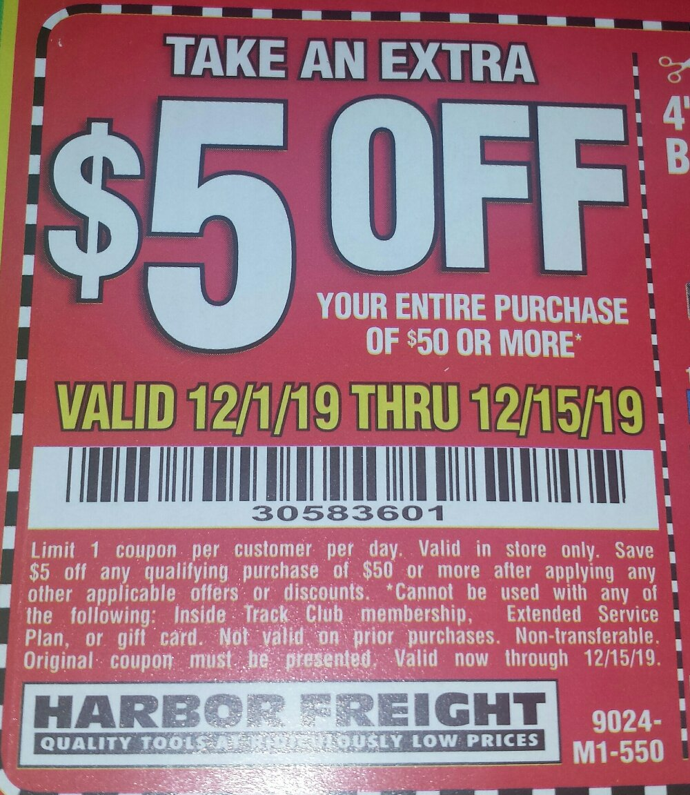 Harbor Freight Coupons, HF Coupons, 20% off - $5 off