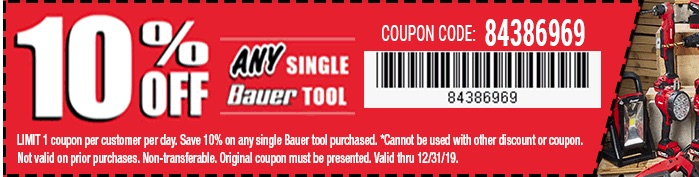 Harbor Freight Coupons, HF Coupons, 20% off - Any Bauer tools