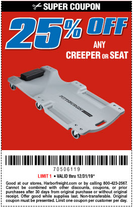 Harbor Freight Coupons, HF Coupons, 20% off - Any Creeper