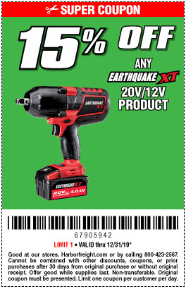 Harbor Freight Coupons, HF Coupons, 20% off - Earthquate