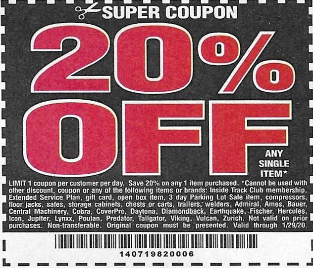 Harbor Freight Coupons, HF Coupons, 20% off - 20% off