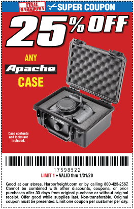 Harbor Freight Coupons, HF Coupons, 20% off - 25% off for Any Apache Case