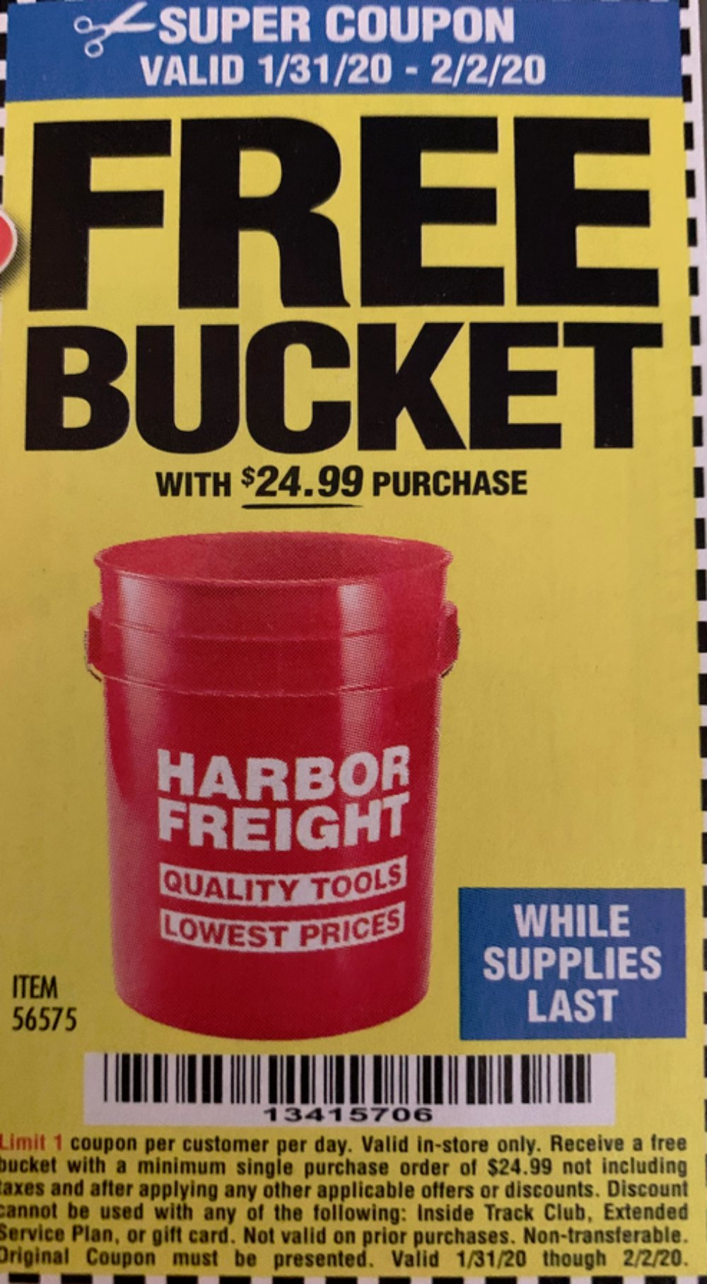 Harbor Freight Coupons, HF Coupons, 20% off - FREE - Harbor Freight Tools Bucket