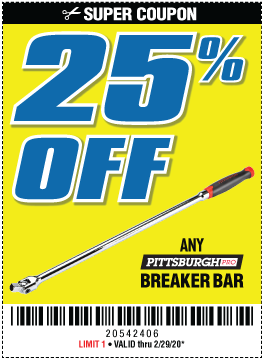 Harbor Freight Coupons, HF Coupons, 20% off - 25% OFF ANY PITTSBURGH BREAKER BAR