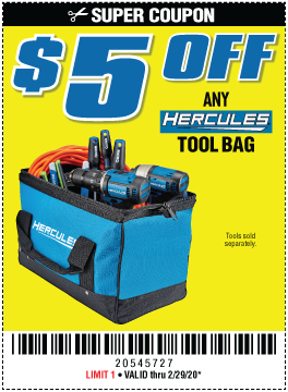 Harbor Freight Coupons, HF Coupons, 20% off - $5 OFF FOR ANY HERCULES TOOL BAG
