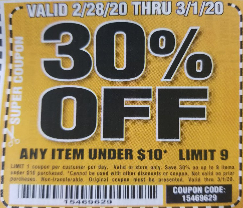 Harbor Freight Coupons, HF Coupons, 20% off - 30% off for under $10 products
