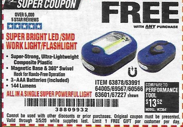 Harbor Freight Coupons, HF Coupons, 20% off - Led Portable Worklight/flashlight