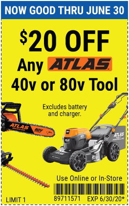 Harbor Freight Coupons, HF Coupons, 20% off - $20 off for any Atlas 40v or 80v tool