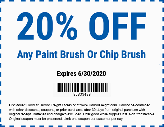 Harbor Freight Coupons, HF Coupons, 20% off - 20% off for any paint brush or chip brush