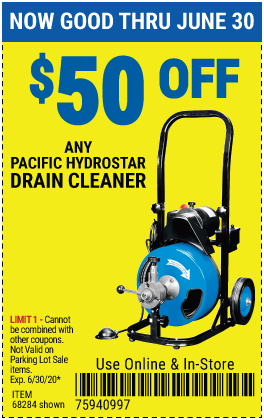 Harbor Freight Coupons, HF Coupons, 20% off - $50 off for any pacific hydrostar Drain cleaner