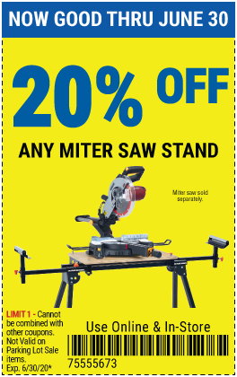 Harbor Freight Coupons, HF Coupons, 20% off - 20% off for any MITER saw stand