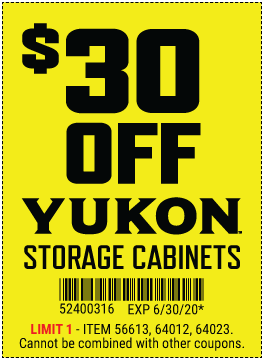 Harbor Freight Coupons, HF Coupons, 20% off - $30 off for YUKON storage cabinets