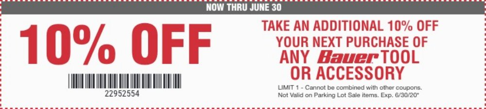 Harbor Freight Coupons, HF Coupons, 20% off - 10 %off for any Bauer tools