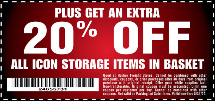 Harbor Freight Coupons, HF Coupons, 20% off - 20% off for all icon storage item basket