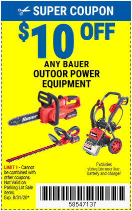 Harbor Freight Coupons, HF Coupons, 20% off - $10 off for any bauer outdoor power equipment