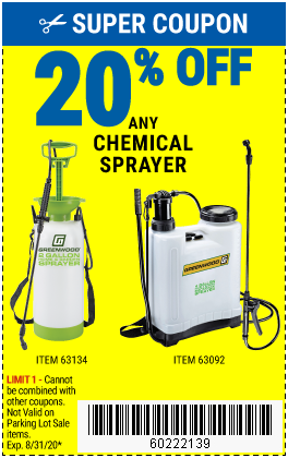 Harbor Freight Coupons, HF Coupons, 20% off - 20% off for any chemical sprayer