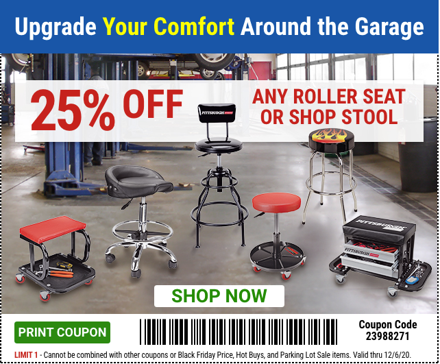 Harbor Freight Coupons, HF Coupons, 20% off - 25% off for Any roller seat or shop stool