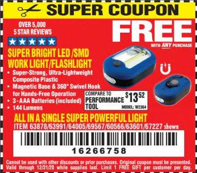 Harbor Freight Coupons, HF Coupons, 20% off - FREE - Flashlight