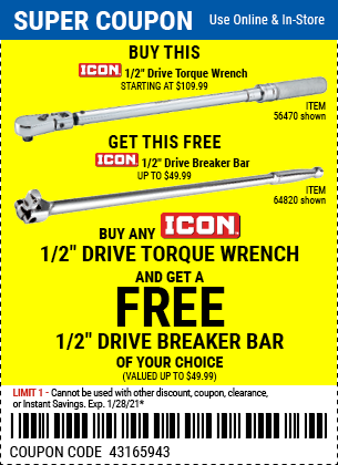 Harbor Freight Coupons, HF Coupons, 20% off - FREE - Drive Torque wrench and drive breaker bar