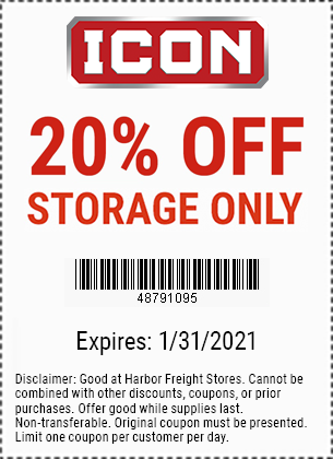 Harbor Freight Coupons, HF Coupons, 20% off - 20% off for ICON storage