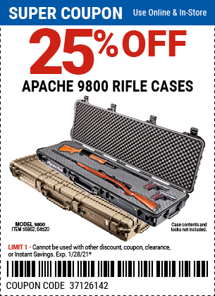 Harbor Freight Coupons, HF Coupons, 20% off - 25% off for Apache 9800 Rifle cases