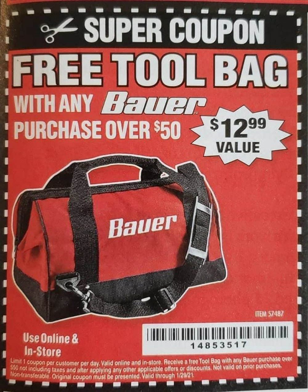 Harbor Freight Coupons, HF Coupons, 20% off - FREE - Tool Bag with any Bauer purchase over $50