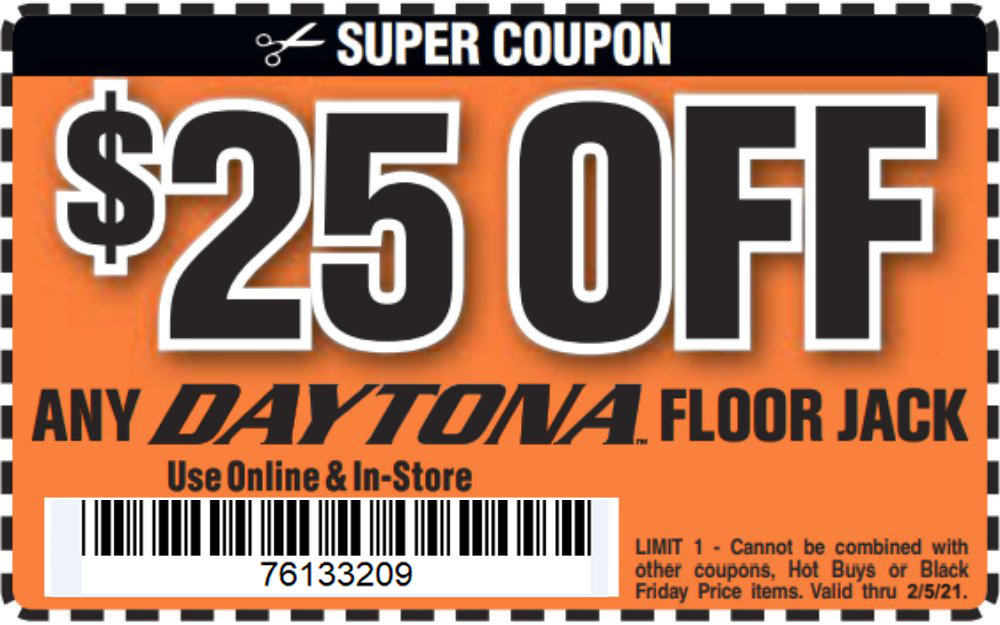 Harbor Freight Coupons, HF Coupons, 20% off - $25 off for any DAYTONA floor jack