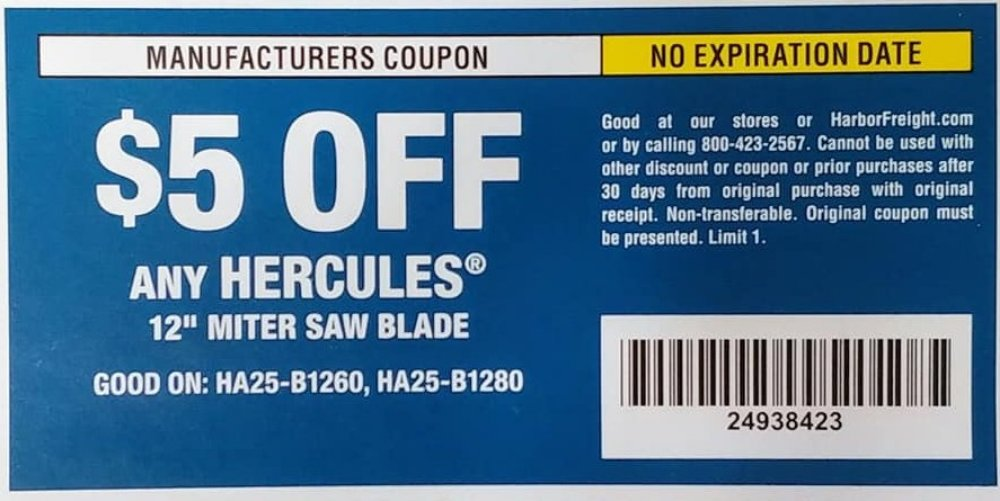 Harbor Freight Tools Coupons, Harbor Freight Coupon, HF Coupons-$5 off coupon for Any Hercules, MITER SAW BLADE