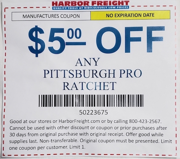 Harbor Freight Coupons, HF Coupons, 20% off - $5 off coupon for Any PITTSBURGH PRO RATCHET