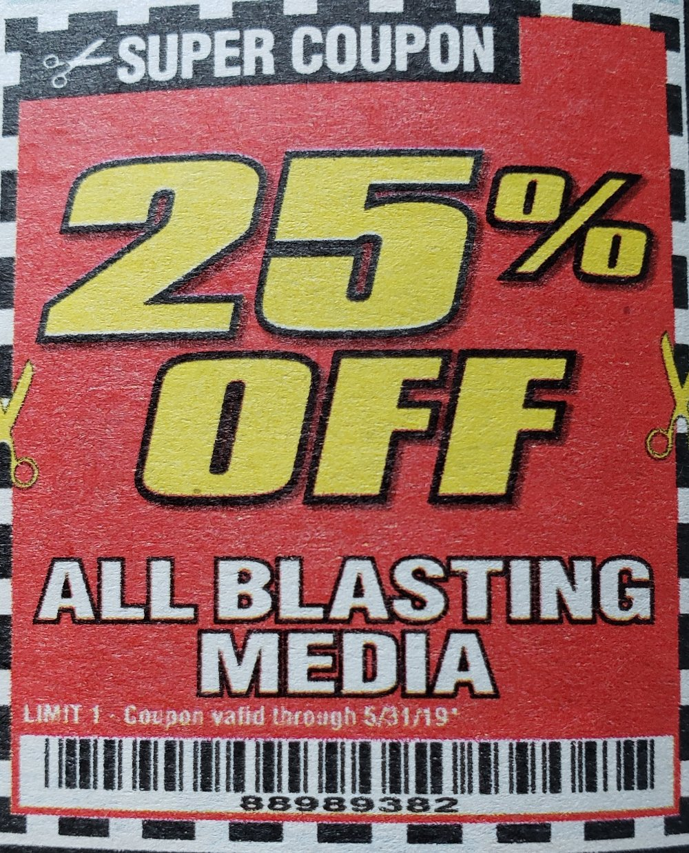 Harbor Freight Coupons, HF Coupons, 20% off - 25% off for ALL BLASTING MEDIA