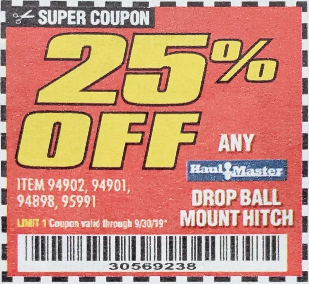 Harbor Freight Coupons, HF Coupons, 20% off - 25% off for any haul master drop ball mount hitch. iten 94902,94901,94898,95991