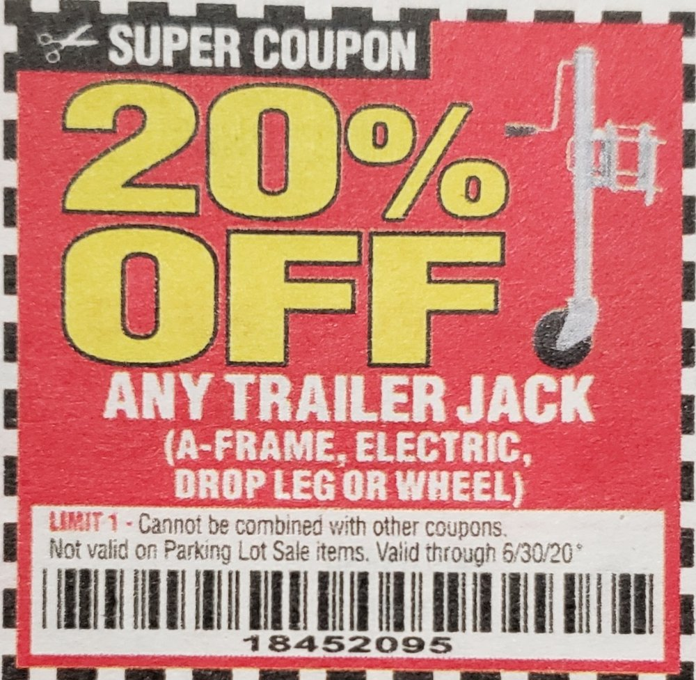 Harbor Freight Coupons, HF Coupons, 20% off - 20% off for any trailer jack