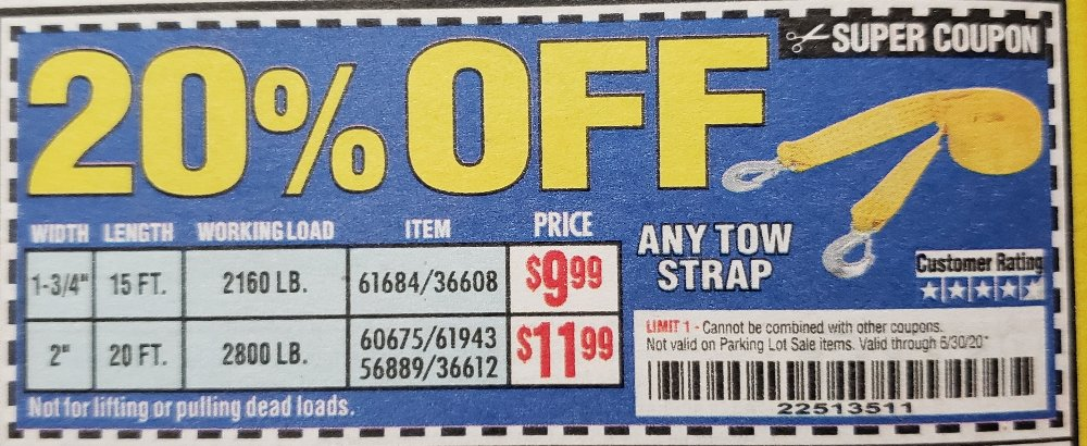 Harbor Freight Coupons, HF Coupons, 20% off - 20% off for any tow strap
