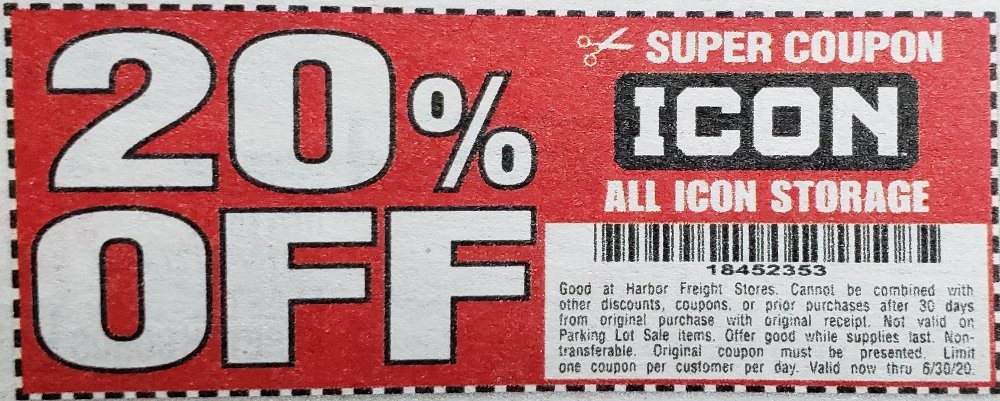 Harbor Freight Coupons, HF Coupons, 20% off - 20% off for all ICON storage