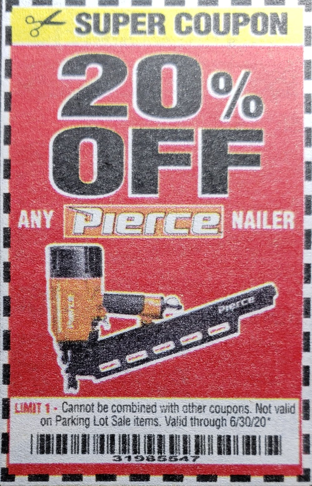 Harbor Freight Coupons, HF Coupons, 20% off - 20% off for any Pierce Nailer