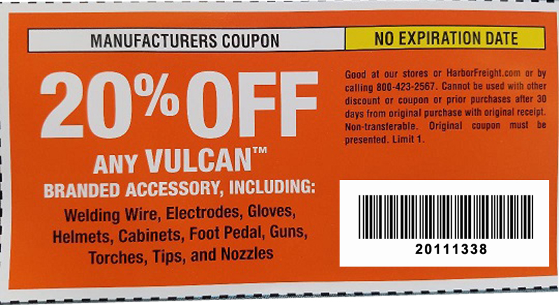 Harbor Freight Coupons, HF Coupons, 20% off - 20% off coupon for ANY VULCAN, including Welding wire, Electrodes, Gloves, Helmets, Cabinets, Foot Pedal, Guns, Torches, Tips and Nozzles