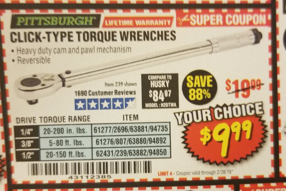 Harbor Freight Coupon, HF Coupons - click type wrenche
