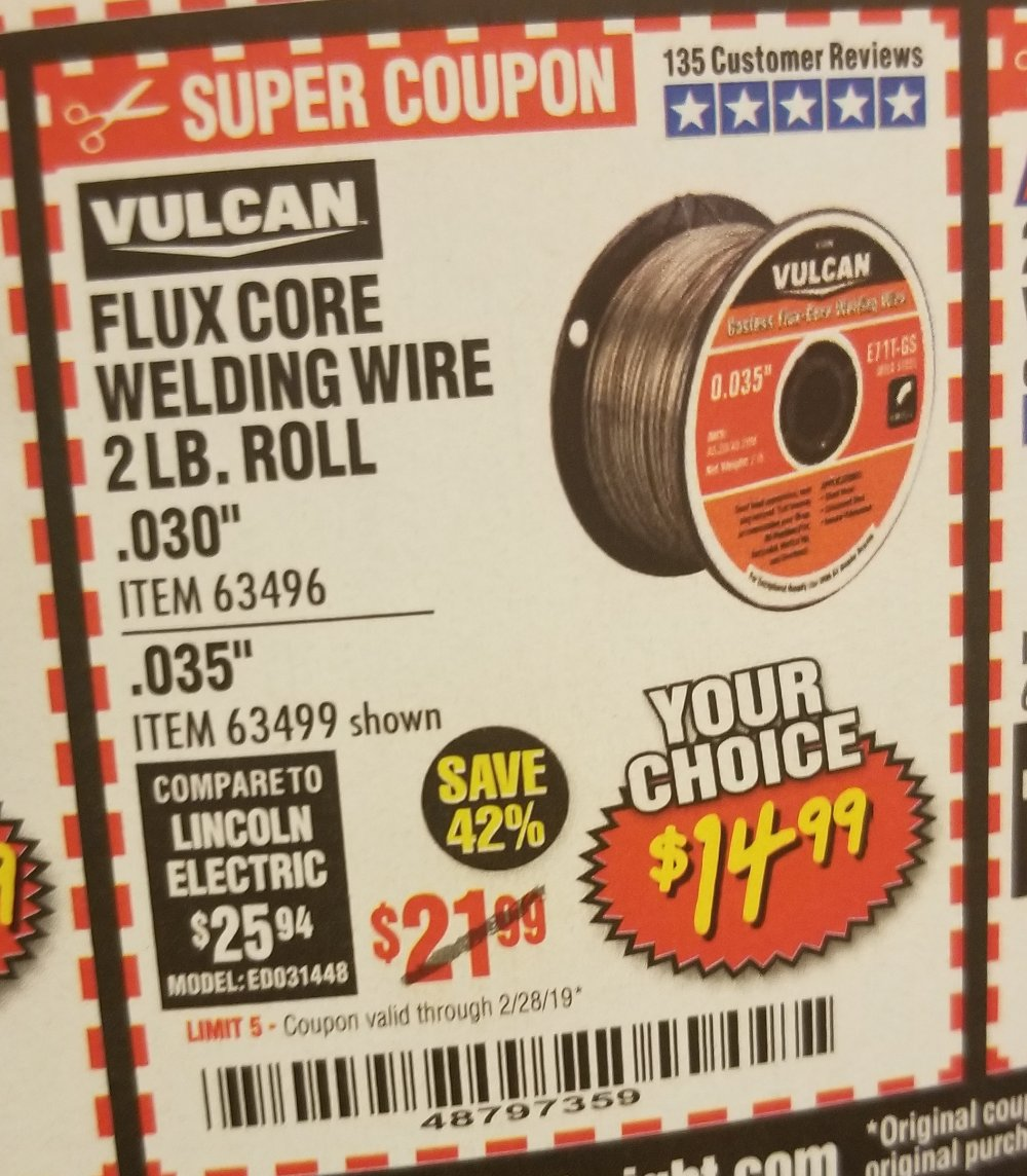 Harbor Freight Coupon, HF Coupons - welding wire 2lbs