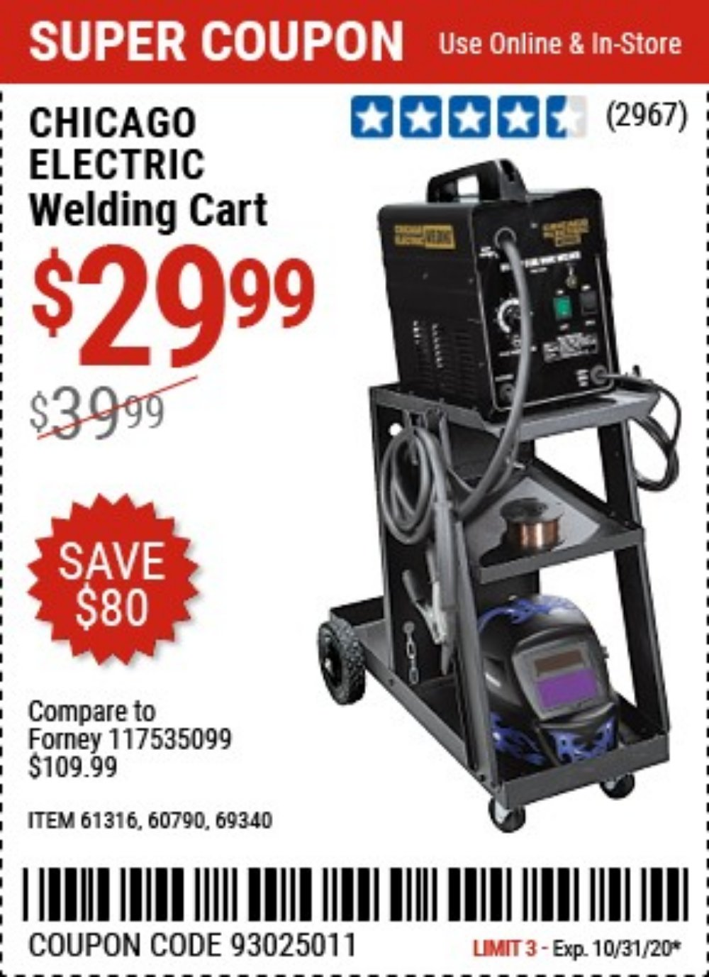 Harbor Freight Coupon, HF Coupons - Mig-flux Welding Cart