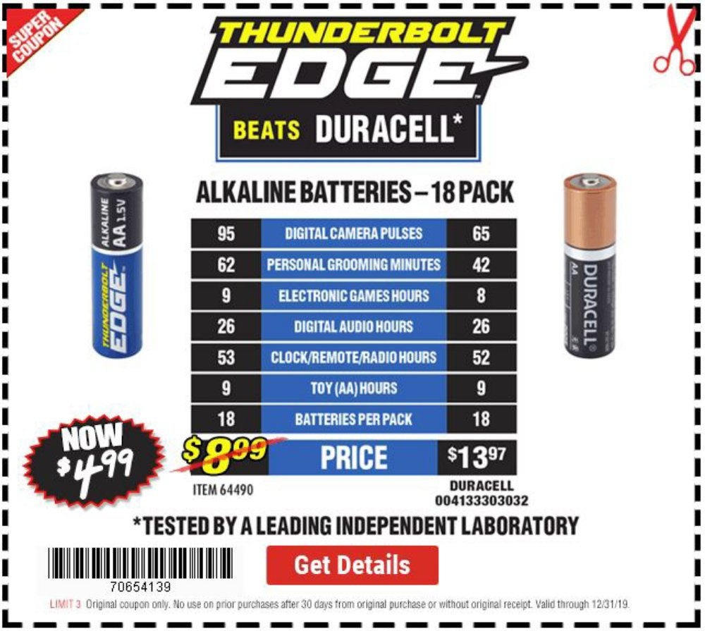 Harbor Freight Coupon, HF Coupons - $4.99 Thunderbolt Edge AA 18 Pack