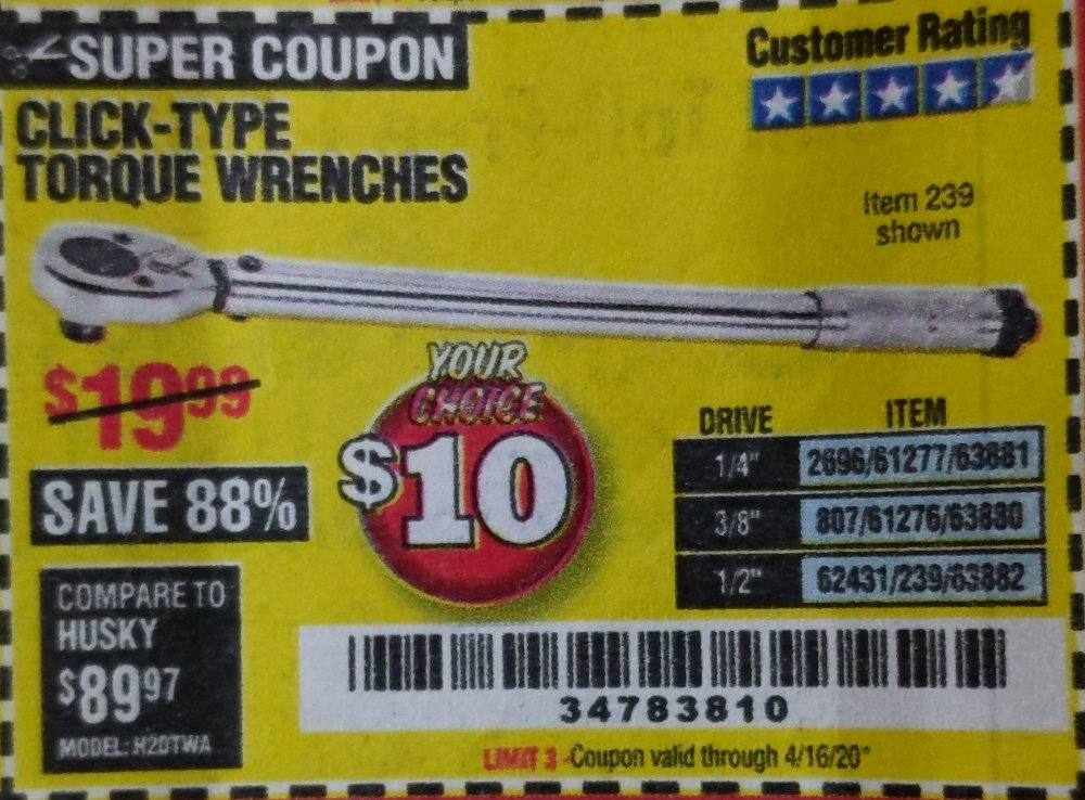 Harbor Freight Coupon, HF Coupons - CLICK TYPE TORQUE WRENCH