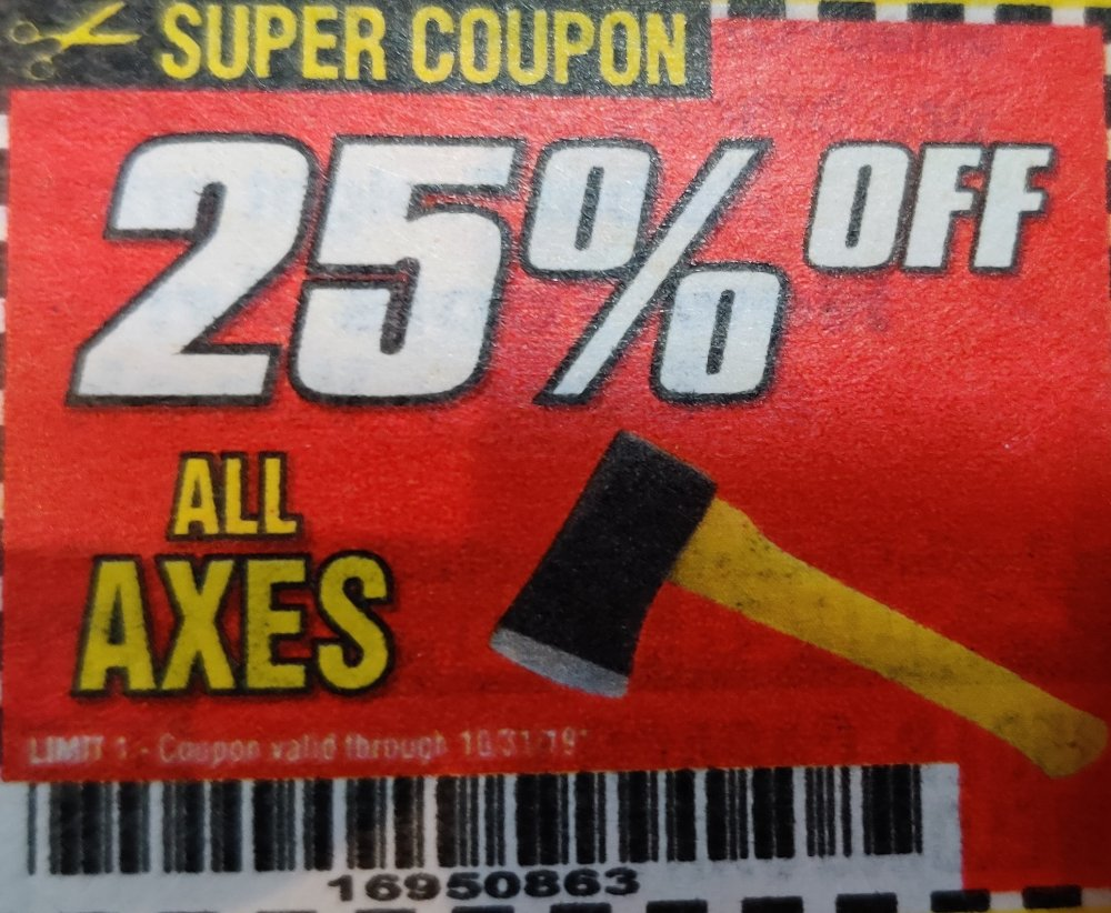 Harbor Freight Coupon, HF Coupons - All Axes 25% off